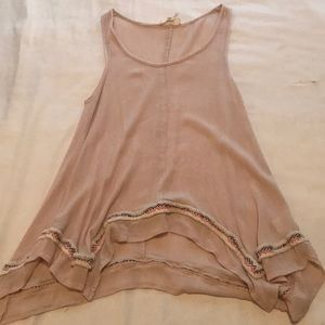 Tan Tank-Top with Fringe Detail Size Small